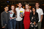 "Camila Mendes, Madelaine Petsch, Casey Cott, Lili Reinhart, Marisol Nichols and KJ Apa from the cast of ""Riverdale"" visits Broadway's ""Bandstand"" at the Bernard Jacobs Theate on May 19, 2017 in New York City."