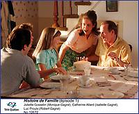 Juliette Gosselin, Catherine Allard, Luc Proulx<br /> dans  Histoire de Famille<br /> <br /> <br /> <br /> Editorial Only - for media use only<br /> Pour usage media (editorial)  Uniquement<br /> <br /> (c) Tele Quebec