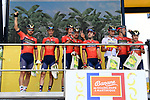 Bahrain-Merida best team after Stage 5 at sign on before the start of Stage 6 of the 2018 Tour de France running 181km from Brest to Mur-de-Bretagne Guerledan, France. 12th July 2018. <br /> Picture: ASO/Alex Broadway | Cyclefile<br /> All photos usage must carry mandatory copyright credit (&copy; Cyclefile | ASO/Alex Broadway)