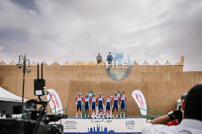 Total Direct Energie at sign on before the start of Stage 2 of the Saudi Tour 2020 running 187km from Sadus Castle to Al Bujairi, Saudi Arabia. 5th February 2020. <br /> Picture: ASO/Pauline Ballet | Cyclefile<br /> All photos usage must carry mandatory copyright credit (© Cyclefile | ASO/Pauline Ballet)