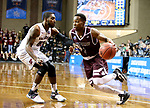 SIOUX FALLS, SD: MARCH 23: Al Davis #3 from Bellarmine looks to drive past Shammgod Wells #55 from Fairmont State during the Men's Division II Basketball Championship Tournament on March 23, 2017 at the Sanford Pentagon in Sioux Falls, SD. (Photo by Dave Eggen/Inertia)