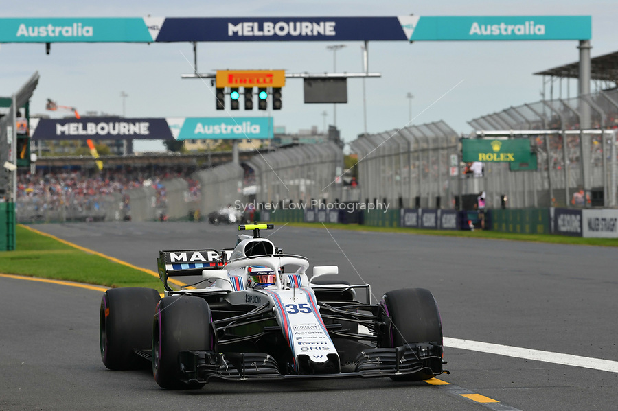 March 24, 2018: Sergey Sirotkin (RUS) #35 from the Williams Martini Racing team leaves the pit for his qualifying lap at the 2018 Australian Formula One Grand Prix at Albert Park, Melbourne, Australia. Photo Sydney Low