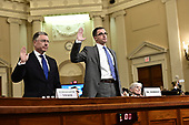 Ambassador Kurt Volker, former Special United States Envoy to Ukraine, left, and Timothy Morrison, Special Assistant to the President and Senior Director for Europe and Russia, National Security Council (NSC), right, are sworn-in to testify during the US House Permanent Select Committee on Intelligence public hearing as they investigate the impeachment of US President Donald J. Trump on Capitol Hill in Washington, DC on Tuesday, November 19, 2019.<br /> Credit: Ron Sachs / CNP<br /> (RESTRICTION: NO New York or New Jersey Newspapers or newspapers within a 75 mile radius of New York City)
