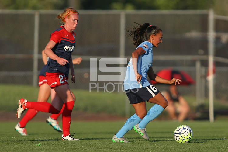 Piscataway, NJ - Saturday July 23, 2016: Tori Huster, Taylor Lytle during a regular season National Women's Soccer League (NWSL) match between Sky Blue FC and the Washington Spirit at Yurcak Field.