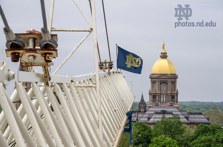 May 14, 2015; Construction crane for McCourtney Hall. (Photo by Barbara Johnston/University of Notre Dame)