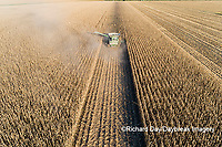 63801-13018 Harvesting corn in fall-aerial  Marion Co. IL
