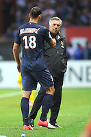 Zlatan Ibrahimovic avec Carlo Ancelotti (PSG)  .Parigi, 04/08/2012.Trofeo di Parigi .Paris Saint Germain vs FC Barcellona.foto Insidefoto / Jean Bibard / Panoramic ..Italy Only