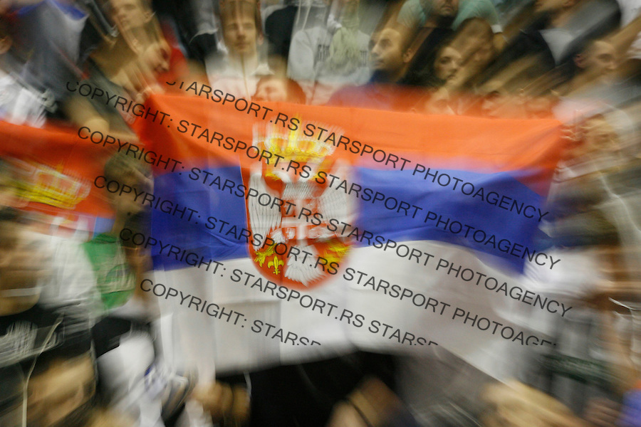 Kosarka.Partizan Vs. Efes Pilsen, Istanbul, Turkey.navijaci Partizana, Kosovo is Serbia, fans, supporters.Beograd, 02.28.2008..foto: Srdjan Stevanovic