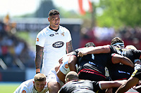Nathan Hughes of Wasps looks on at a scrum. Aviva Premiership Semi Final, between Saracens and Wasps on May 19, 2018 at Allianz Park in London, England. Photo by: Patrick Khachfe / JMP