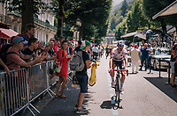 double stage winner/ Polka Dot Jersey wearer / KOM leader / national french hero Julian Alaphilippe (FRA/Quick-Step Floors) getting enthusiastic cheers from the crowd on his way to the sign-on at the race start in Luchon<br /> <br /> Stage 17: Bagnères-de-Luchon > Saint-Lary-Soulan (65km)<br /> <br /> 105th Tour de France 2018<br /> ©kramon