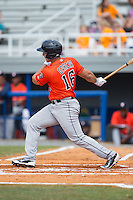 Justin Garcia (16) of the Greeneville Astros follows through on his swing against the Kingsport Mets at Hunter Wright Stadium on July 7, 2015 in Kingsport, Tennessee.  The Mets defeated the Astros 6-4. (Brian Westerholt/Four Seam Images)
