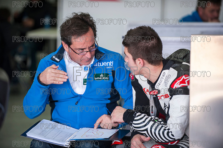 Maverick Viñales and Sito Pons in Tuenti HP 40 Racing box at pre season winter test IRTA Moto3 & Moto2 at Ricardo Tormo circuit in Valencia (Spain), 11-12-13 February 2014
