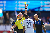 SAN JOSE, CA - JUNE 8: Referee Ted Unkel cards Jesus Ferreira #27 during a game between FC Dallas and San Jose Earthquakes at Avaya Stadium on June 8, 2019 in San Jose, California.