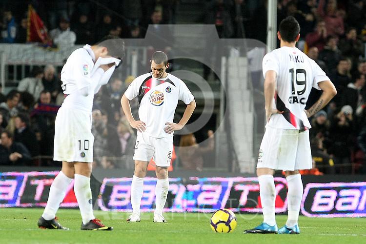Getafe's Juan Albin, Javier Casquero and Miku during La Liga match.(ALTERPHOTOS/Acero)