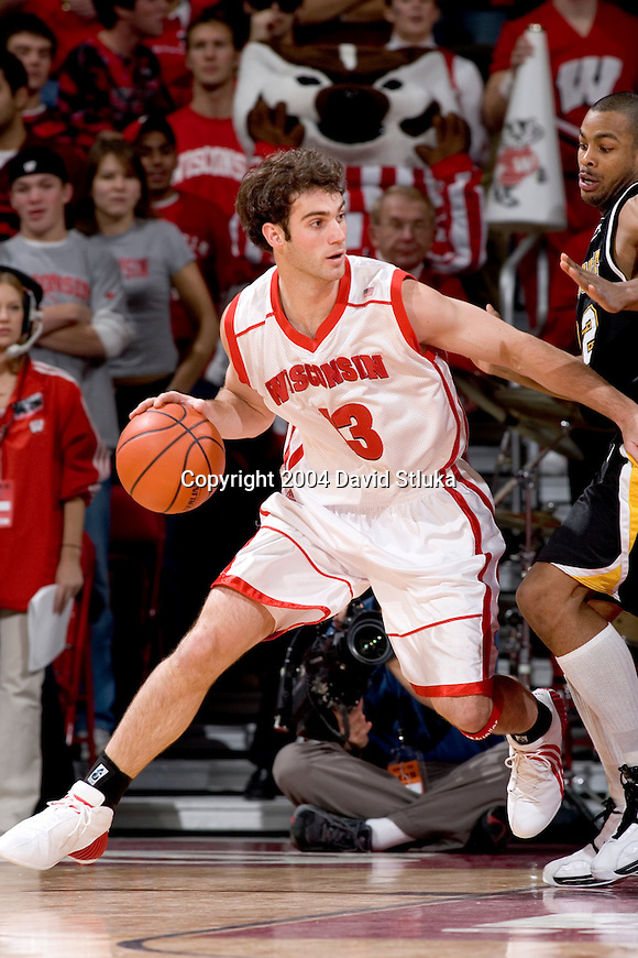 MADISON, WI - DECEMBER 15: Guard Clayton Hanson #13 of the Wisconsin Badgers during the game against UW-Milwaukee at the Kohl Center on December 15, 2004 in Madison, Wisconsin. The Badgers defeated UW-Milwaukee 66-37. Photo by David Stluka