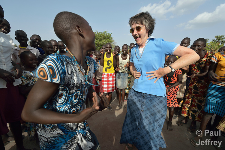 Loreto Sister Rosemary Gallagher dances with students during a break from classes in the Loreto Primary School in Rumbek, South Sudan. The school is run by the Institute for the Blessed Virgin Mary--the Loreto Sisters--of Ireland. Gallagher is from Northern Ireland.