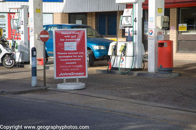 Fuel shortage sign at John Grose garage forecourt, Melton, Suffolk, England