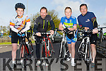 Killian O'Sullivan,David Cotter,Robbie Scott and Colin Scott at the start of the Fenit Lifeboat Cycle from O'Donnell's Mounthawk on Saturday morning