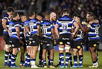 The Bath Rugby team huddle together at half time. Aviva Premiership match, between Bath Rugby and Wasps on December 29, 2017 at the Recreation Ground in Bath, England. Photo by: Patrick Khachfe / Onside Images