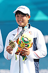 Riko Hayashida (JPN), <br /> AUGUST 30, 2018 - Soft Tennis : <br /> Mixed Doubles  Medal ceremony<br /> at Jakabaring Sport Center Tennis Courts <br /> during the 2018 Jakarta Palembang Asian Games <br /> in Palembang, Indonesia. <br /> (Photo by Yohei Osada/AFLO SPORT)