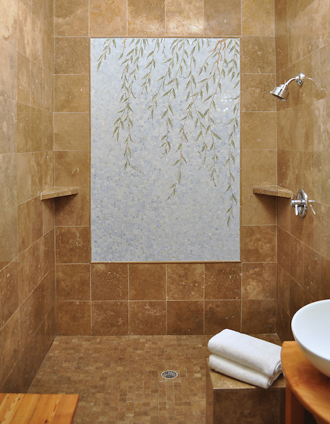 Custom Willow natural stone hand cut shower medallion.