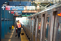Train and platform on Coney Island subway station, Brooklyn, New York