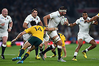 Tom Wood of England takes on the Australia defence. Rugby World Cup Pool A match between England and Australia on October 3, 2015 at Twickenham Stadium in London, England. Photo by: Patrick Khachfe / Onside Images