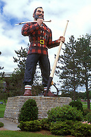 Bangor, Paul bunyan, Maine, The giant statue of Paul Bunyan carrying his big axe stands erect in a park in Bangor.