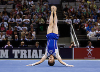 Glen Ishino of California competes on the floor during the 2012 US Olympic Trials competition at HP Pavilion in San Jose, California on June 28th, 2012.