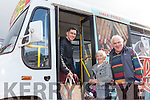 Anne Roche from Balloonagh, pictured with David and Mike Culloty, has been using the Tralee Peoples' Bus Service since it began operating in the town twenty-six years.