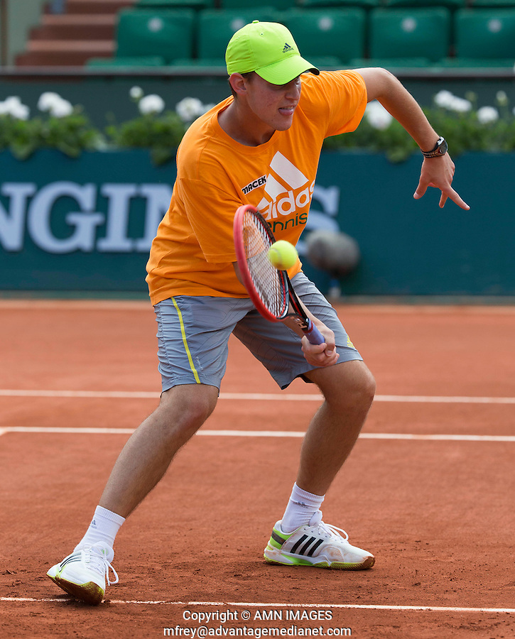 DOMINIC THIEM (AUT)<br /> <br /> Tennis - French Open 2014 -  Toland Garros - Paris -  ATP-WTA - ITF - 2014  - France - <br /> 29 May 2014. <br /> <br /> &copy; AMN IMAGES