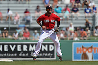 Boston Red Sox  second baseman Dustin Pedroia (15) during a Spring Training game against the New York Mets on March 16, 2015 at JetBlue Park at Fenway South in Fort Myers, Florida.  Boston defeated New York 4-3.  (Mike Janes/Four Seam Images)
