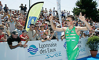 13 JUL 2007 - LORIENT, FRA - Javier Gomez celebrates his victory - French Grand Prix Series. (PHOTO (C) NIGEL FARROW)