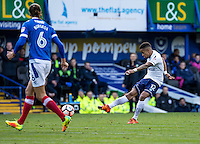 Paris Cowan-Hall of Wycombe Wanderers shoots during the FA Cup 1st round match between Portsmouth and Wycombe Wanderers at Fratton Park, Portsmouth, England on the 5th November 2016. Photo by Liam McAvoy.