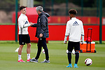 Manchester United manager Jose Mourinho shakes hands with Josh Harrop during the Manchester United training session at the Carrington Training Centre, Manchester. Picture date: May 19th 2017. <br /> Pic credit should read: Matt McNulty/Sportimage