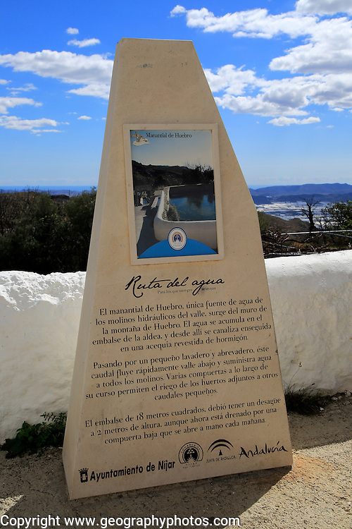Ruta del Aqua walk sign, Huebro village, Sierra Alhamilla mountains,  Nijar, Almeria, Spain