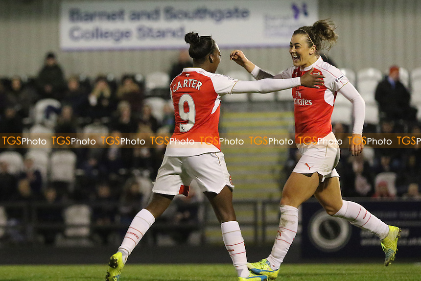Danielle Carter celebrates scoring Arsenal's third goal with Jemma Rose during Arsenal Ladies vs Reading FC Women, FAWSL1 Football at Meadow Park on 23rd March 2016