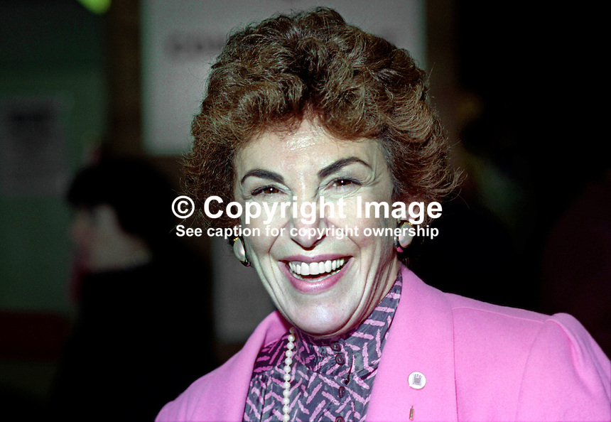 Edwina Currie, MP, Conservative Party, UK, annual conference, October 1994, 19941005EC1<br /> <br /> Copyright Image from Victor Patterson, 54 Dorchester Park, <br /> Belfast, UK, BT9 6RJ<br /> <br /> t1: +44 28 9066 1296 (from Rep of Ireland 048 9066 1296)<br /> t2: +44 28 9002 2446 (from Rep of Ireland 048 9002 2446)<br /> m: +44 7802 353836<br /> <br /> e1: victorpatterson@me.com<br /> e2: victorpatterson@gmail.com<br /> <br /> www.victorpatterson.com<br /> <br /> Please see my Terms and Conditions of Use at www.victorpatterson.com. It is IMPORTANT that you familiarise yourself with them.<br /> <br /> Images used on the Internet must be visibly watermarked i.e. &copy; Victor Patterson within the body of the image and copyright metadata must not be deleted. Images used on the Internet have a size restriction of 4kbs and will be chargeable at current NUJ rates unless agreed otherwise.<br /> <br /> This image is only available for the use of the download recipient i.e. television station, newspaper, magazine, book publisher, etc, and must not be passed on to any third party. It is also downloaded on condition that each and every usage is notified within 7 days to victorpatterson@me.com<br /> <br /> The right of Victor Patterson to be identified as the author is asserted in accordance with The Copyright Designs And Patents Act (1988).