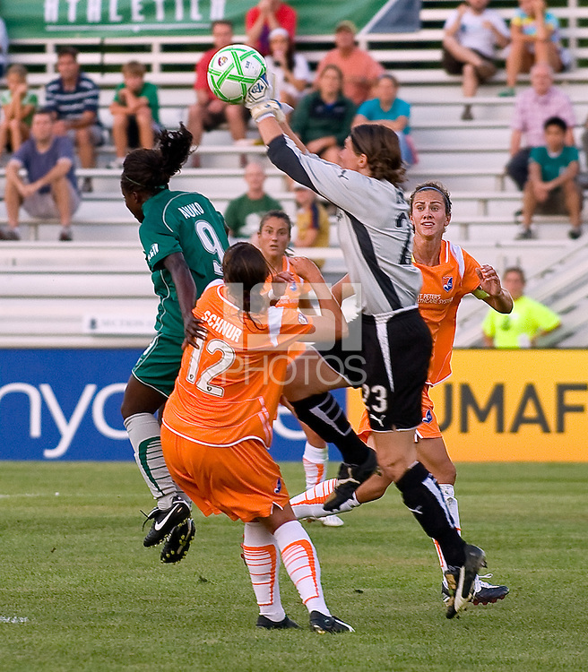 Sky Blue FC goalkeeper Jenni Branam (23) during a WPS match at Anheuser Busch Soccer Park, in St. Louis, MO, July 22 2009. Athletica won the match 1-0.