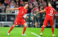 Robert Lewandowski (FC Bayern), jubelt nach seinem Tor per Elfmeter zum 2:2, zusammen mit Thomas M¸ller (FC Bayern), FC Bayern M¸nchen - Hertha BSC Berlin 1. Bundesliga 2019/2020, 1. BL, 1. Bundesliga, DFL, Fuflball, Fussball, soccer, Herren, Deutschland, Germany M¸nchen, 16.8.2019, Allianz Arena DFB RULES PROHIBIT USE IN MMS SERVICES VIA HANDHELD DEVICES UNTIL TWO HOURS AFTER A MATCH AND ANY USAGE ON INTERNET OR ONLINE MEDIA SIMULATING VIDEO FOOTAGE DURING THE MATCH *** Robert Lewandowski FC Bayern , cheers after his goal by penalty to 2 2, together with Thomas M¸ller FC Bayern , FC Bayern Munich Hertha BSC Berlin 1 Bundesliga 2019 2020, 1 BL, 1 Bundesliga, DFL, Football, Soccer, soccer soccer, Men, Germany, Germany Munich, 16 8 2019, Allianz Arena DFB RULES PROHIBIT USE IN MMS SERVICES VIA HANDHELD DEVICES UNTIL TWO HOURS AFTER A MATCH AND ANY USAGE ON INTERNET OR ONLINE MEDIA SIMULATING VIDEO FOOTAGE DURING THE MATCH  <br /> Bundesliga<br /> Foto Imago/Insidefoto <br /> ITALY ONLY