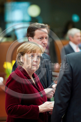 Brussels-Belgium - March 25, 2011 -- 2nd day of the European Council, EU-summit with Heads of State / Government; here, Angela MERKEL (le), Federal Chancellor of Germany, with David CAMERON (ri), Prime Minister of the United Kingdom -- Photo: Horst Wagner / eup-images