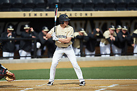 Chase Mascolo (28) of the Wake Forest Demon Deacons at bat against the Louisville Cardinals at David F. Couch Ballpark on March 18, 2018 in  Winston-Salem, North Carolina.  The Demon Deacons defeated the Cardinals 6-3.  (Brian Westerholt/Four Seam Images)