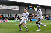 Joe Jacobson of Wycombe Wanderers celebrates his goal with Adebayo Akinfenwa of Wycombe Wanderers during the Sky Bet League 2 match between Barnet and Wycombe Wanderers at The Hive, London, England on 17 April 2017. Photo by Andy Rowland.