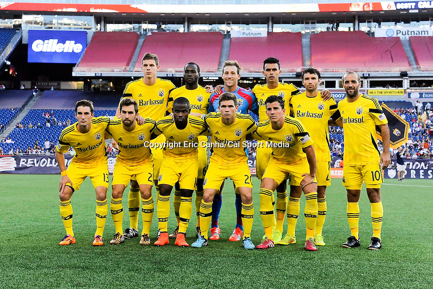 July 26, 2014 - Foxborough, Massachusetts, U.S. - The Columbus Crew pose for a team photo before the MLS game between the Columbus Crew and the New England Revolution held at Gillette Stadium in Foxborough Massachusetts.  Eric Canha/CSM
