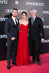 """The actors Theo James, SHAILENE WOODLEY and the director Neil Burger attend the Premiere of the movie """"DIVERGENT"""" at Callao Cinema inMadrid, Spain. April 03, 2014. (ALTERPHOTOS/Carlos Dafonte)"""