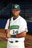 June 27th 2008:  Jesus Rojas of the Jamestown Jammers, Class-A affiliate of the Florida Marlins, during a game at Russell Diethrick Park in Jamestown, NY.  Photo by:  Mike Janes/Four Seam Images