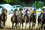 Saratoga Springs, NY September 01, 2018:  Far left in the white cap, Yoshida with Joel Rosario comes from ninth as he circles the field in the final quarter to win the G1 Woodward.  The $750,000 race was at Saratoga Race course in Saratoga Springs, NY.  [Dan Heary/Eclipse Sportswire/Getty Images]