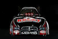 Dec. 5, 2012; Brownsburg, IN, USA; The car of NHRA funny car driver Matt Hagan during a photo shoot at the Don Schumacher Racing shop.  Mandatory Credit: Mark J. Rebilas-