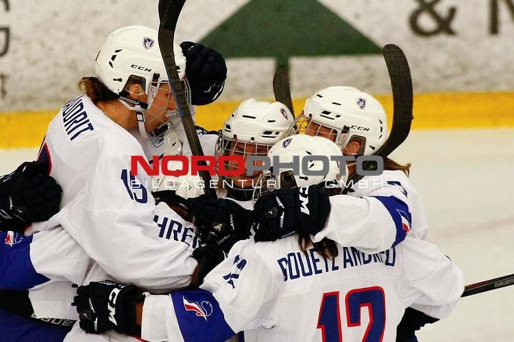 25.03.2016, Aalborg Gigantium, Aalborg, DK, FEH, IIHF WW DivIa, Norwegen vs. Frankreich, im Bild Lore Baudrit (France # 19), Soline Fohrer (France # 3), Estelle Duvin (France # 5), Virgine Bouetz Andrieu (France # 12) and Marion Allemoz (France # 9) are celebrating the 3:0 scored by Estelle Duvin (France # 5)<br /> <br /> Foto &copy; nordphoto / RMG