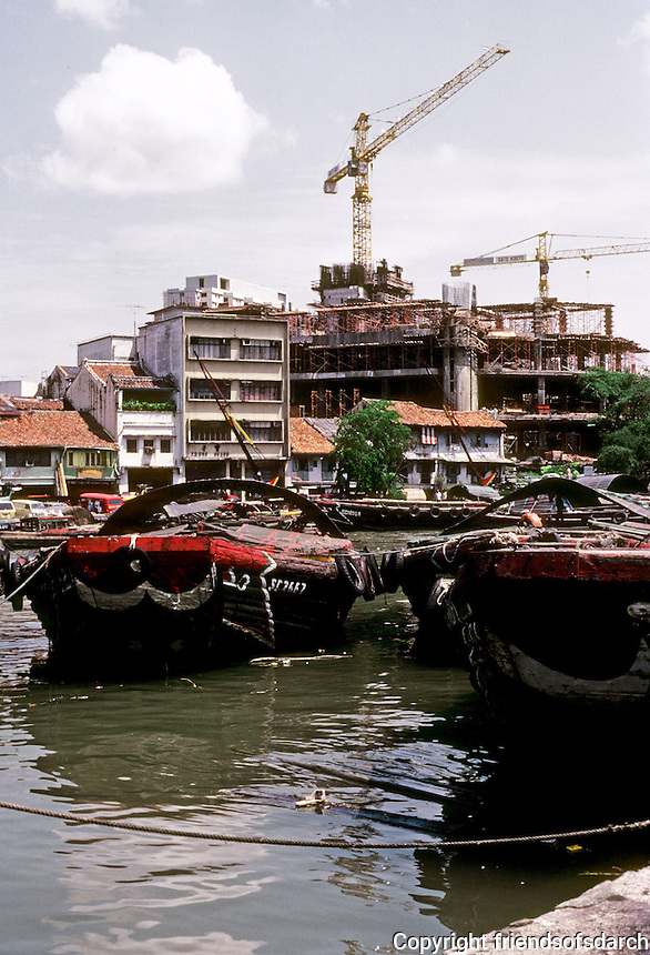 Singapore: barges along the waterfront. Photo '83.